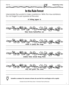 In the Rain Forest (Sequencing a Story) - Printable Worksheet