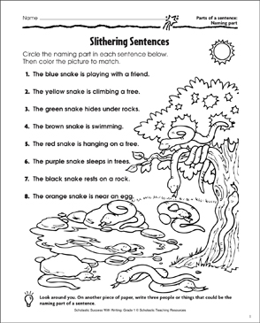 Slithering Sentences (The Subject of a Sentence) - Printable Worksheet
