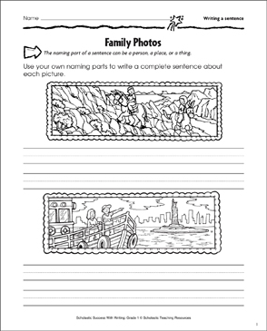 Family Photos (Writing a Sentence) - Printable Worksheet
