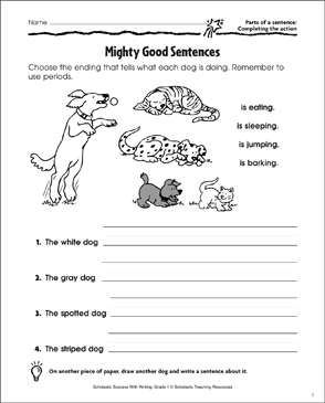 Mighty Good Sentences (Completing the Action in a Sentence) - Printable Worksheet