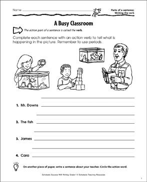 A Busy Classroom (Writing the Verb in a Sentence) - Printable Worksheet