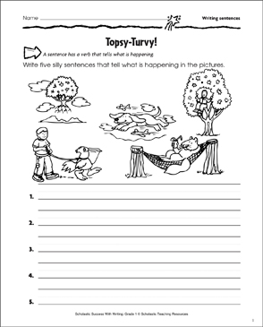 Topsy-Turvy! (Writing Sentences) - Printable Worksheet