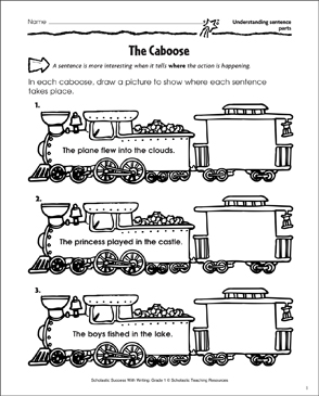 The Caboose (Understanding Sentence Parts) - Printable Worksheet