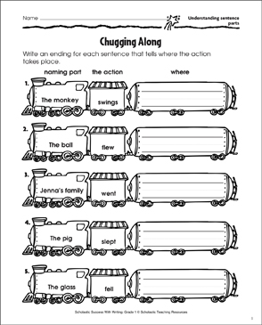 Chugging Along (Understanding Sentence Parts) - Printable Worksheet