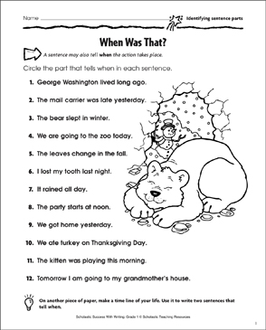 When Was That? (Identifying Sentence Parts) - Printable Worksheet