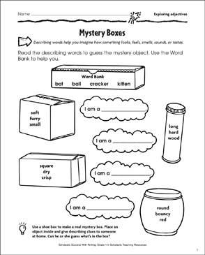 Mystery Boxes (Exploring Adjectives) - Printable Worksheet