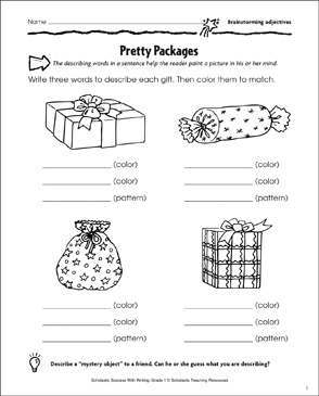 Pretty Packages/What's Inside? (Describing Words and Sentences) - Printable Worksheet