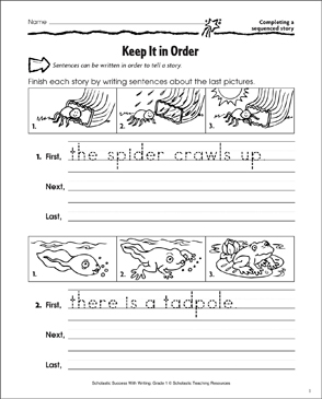 Keep It in Order (Completing a Sequenced Story) - Printable Worksheet