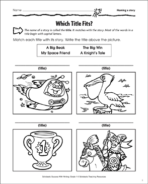 Which Title Fits? (Naming a Story) - Printable Worksheet