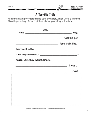 A Terrific Title (Writing a Story Title) - Printable Worksheet