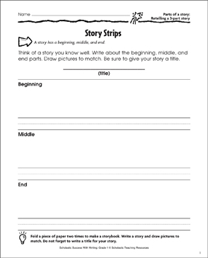 Story Strips (Retelling a 3-Part Story) - Printable Worksheet