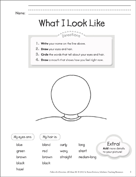 What I Look Like: All About Me - Printable Worksheet