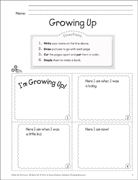 Growing Up: All About Me - Printable Worksheet