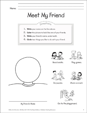 Meet My Friend: All About Me - Printable Worksheet