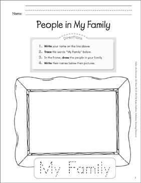People in My Family: All About Me - Printable Worksheet