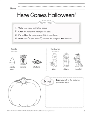 Here Comes Halloween!: All About Me - Printable Worksheet