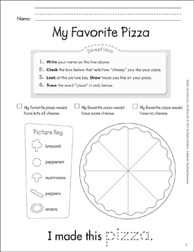My Favorite Pizza: All About Me - Printable Worksheet
