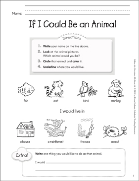 If I Could Be an Animal: All About Me - Printable Worksheet