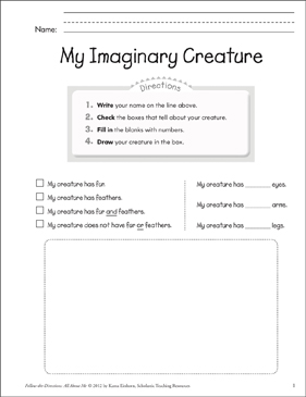 My Imaginary Creature: All About Me - Printable Worksheet