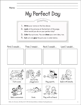 My Perfect Day: All About Me - Printable Worksheet