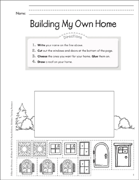 Building My Own Home: All About Me - Printable Worksheet