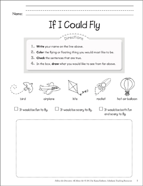 If I Could Fly: All About Me - Printable Worksheet