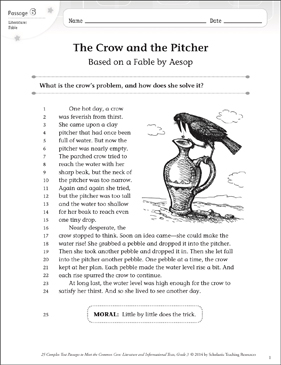 The Crow and the Pitcher: Text & Questions - Printable Worksheet