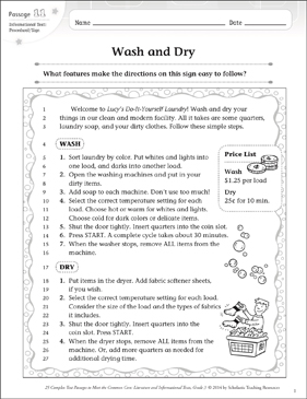 Wash and Dry: Text & Questions - Printable Worksheet