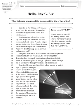 Hello, Roy G. Biv!: Text & Questions - Printable Worksheet