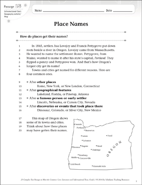Place Names: Text & Questions - Printable Worksheet