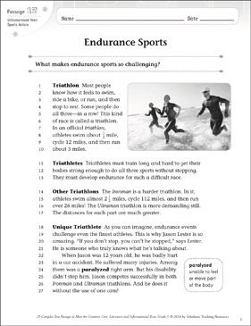 Endurance Sports: Text & Questions - Printable Worksheet