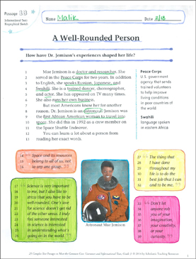 A Well-Rounded Person: Text & Questions - Printable Worksheet