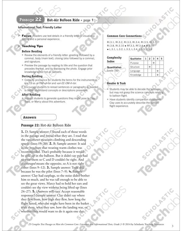 Hot Air Balloon Ride Text Questions Printable Texts And Skills