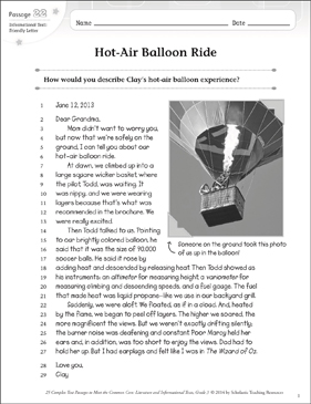 Hot-Air Balloon Ride: Text & Questions - Printable Worksheet