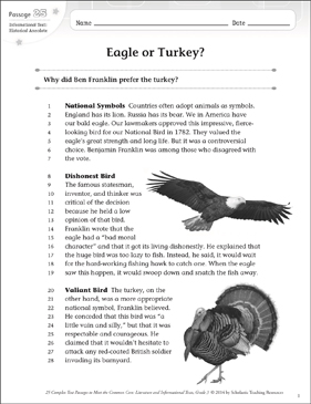 Eagle or Turkey?: Text & Questions - Printable Worksheet