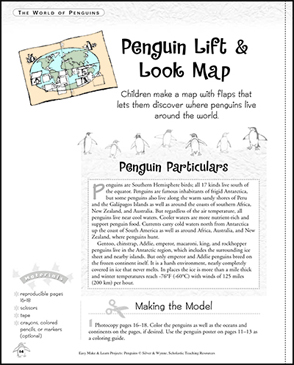 Penguin Lift & Look Map: Make & Learn Project - Printable Worksheet