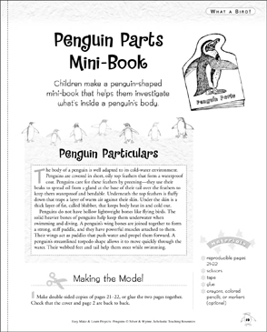 Penguin Parts Mini-Book: Make & Learn Project - Printable Worksheet