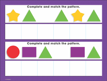 Basic Shapes Patterning (ABAB, ABCABC): Math Mat - Printable Worksheet