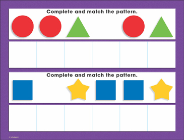 Basic Shapes Patterning (AAB, AAB): Math Mat - Printable Worksheet