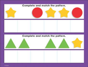 Basic Shapes Patterning (AABAAB): Math Mat - Printable Worksheet