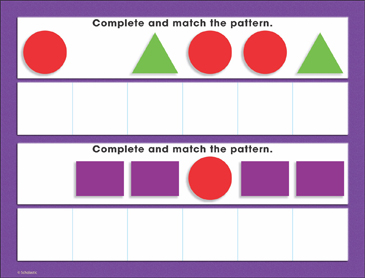 Basic Shapes Patterning: Math Mat - Printable Worksheet