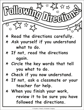 Following Directions! Chart - Printable Worksheet
