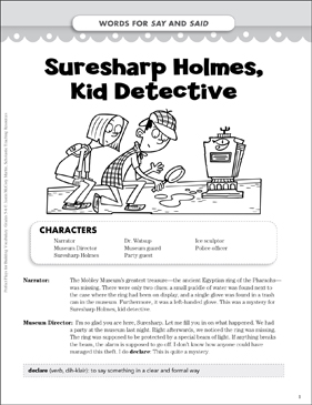 Suresharp Holmes, Kid Detective (Words for Say and Said): Vocabulary-Building Play - Printable Worksheet