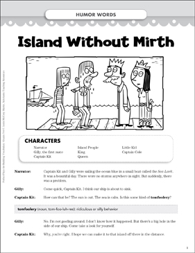 Island Without Mirth (Humor Words): Vocabulary-Building Play - Printable Worksheet