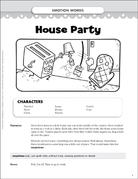 House Party (Emotion Words): Vocabulary-Building Play - Printable Worksheet