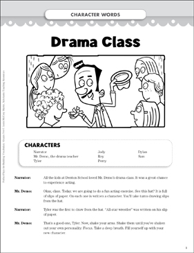 Drama Class (Character Words): Vocabulary-Building Play - Printable Worksheet