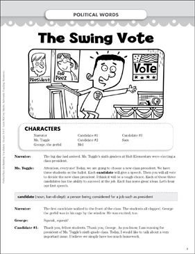 The Swing Vote (Political Words): Vocabulary-Building Play - Printable Worksheet