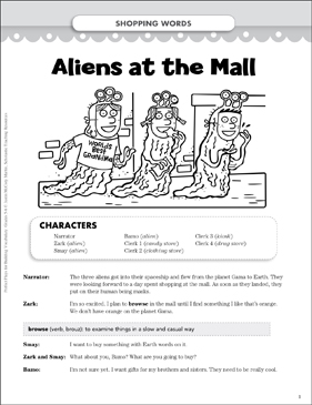 Aliens at the Mall (Shopping Words): Vocabulary-Building Play - Printable Worksheet