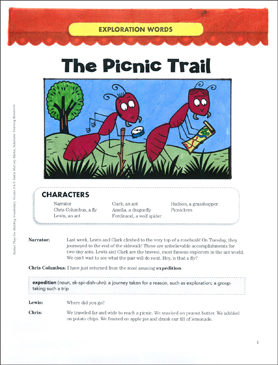 The Picnic Trail (Exploration Words): Vocabulary-Building Play - Printable Worksheet