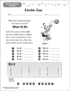Freebie Fun (Reviewing Fact Families) - Printable Worksheet